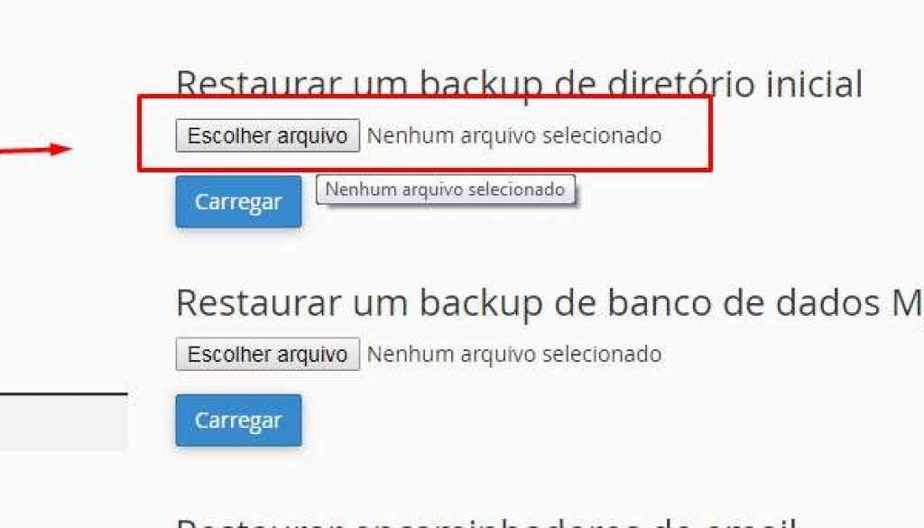 Como Restaurar o Backup WordPress passo 1