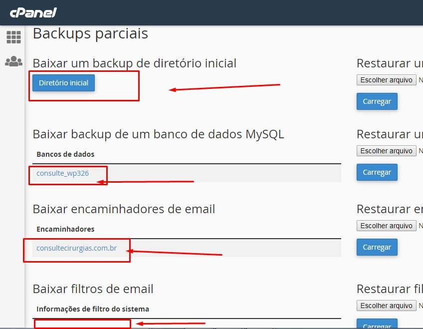 Como fazer o backup do WordPress pelo Cpanel passo 3