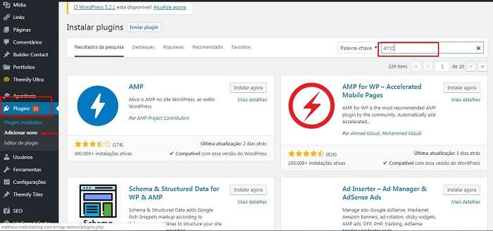 como configurar amp plugin wordpress passo 1