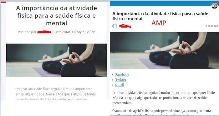 exemplo diferenca pagina normal e amp