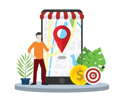 local seo market strategy business search engine optimization with business man stand in front of mobile smartphone with maps online - vector