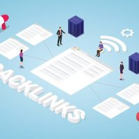 backlinks seo search engine optimization concept with big words and team people with modern isometric style - vector